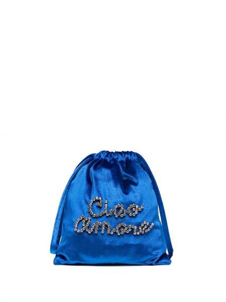 Niebieska torba na ramię z aksamitu Giada Benincasa