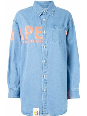 Хлопковая синяя с рукавами джинсовая рубашка Aape By A Bathing Ape