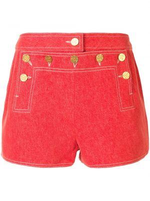 Хлопковые красные шорты на пуговицах Chanel Pre-owned