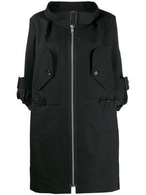 Шерстяное черное пальто с капюшоном Junya Watanabe