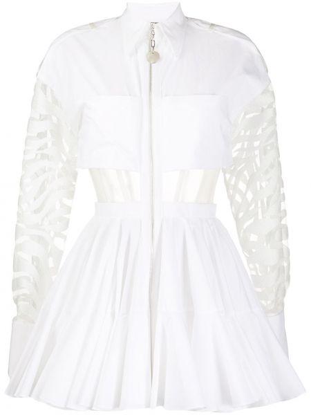 Расклешенное классическое платье мини на пуговицах с воротником David Koma