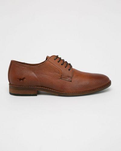 Кожаные туфли на каблуке на шнуровке Mustang