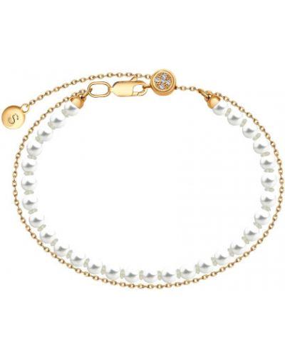Серебряный браслет позолоченный с камнями Sokolov