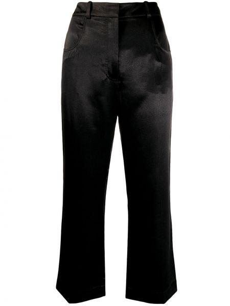 Черные расклешенные укороченные брюки с поясом из вискозы Alexa Chung