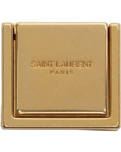 С ремешком кожаная брошь золотая с тиснением Saint Laurent