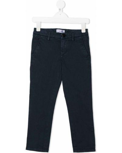 Хлопковые прямые синие прямые брюки на молнии Dondup Kids
