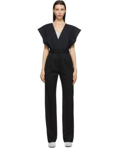 Черный комбинезон в полоску с карманами Mm6 Maison Margiela
