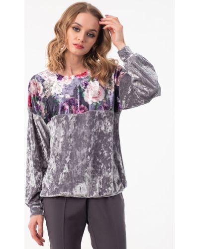 Блузка с кокеткой - серая Wisell