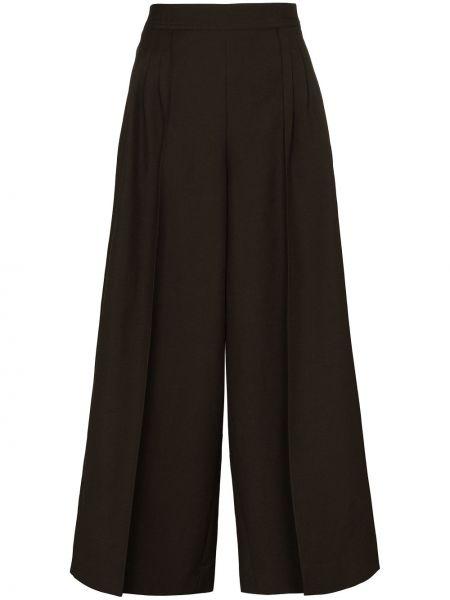 Брючные шерстяные свободные брюки хаки свободного кроя Loewe