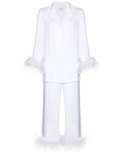 Белая пижама на пуговицах из вискозы Sleeper