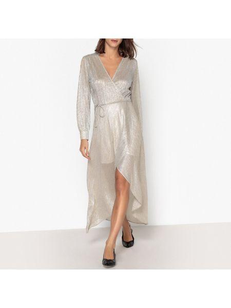 Серебряное платье миди с запахом с V-образным вырезом на молнии Berenice