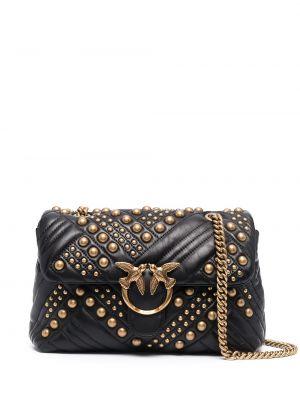 Стеганая черная кожаная сумка на цепочке Pinko