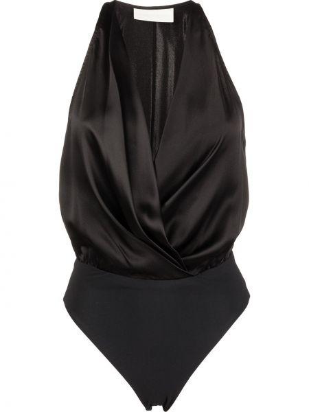Черное боди без рукавов с вырезом Michelle Mason