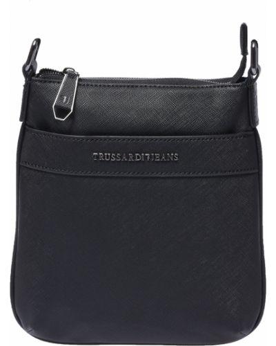 Кожаная сумка на молнии черная Trussardi Jeans