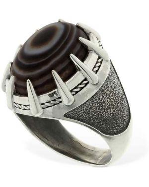Czarny pierścionek srebrny Cantini Mc Firenze