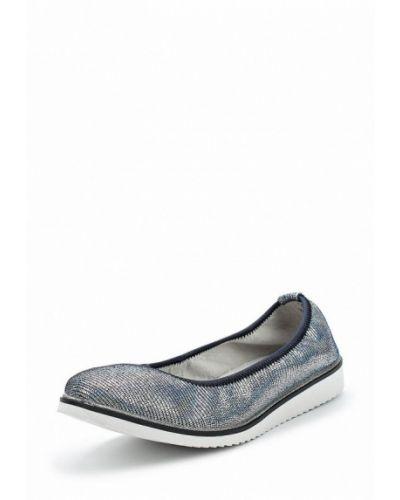 Балетки кожаные серебряного цвета Baden