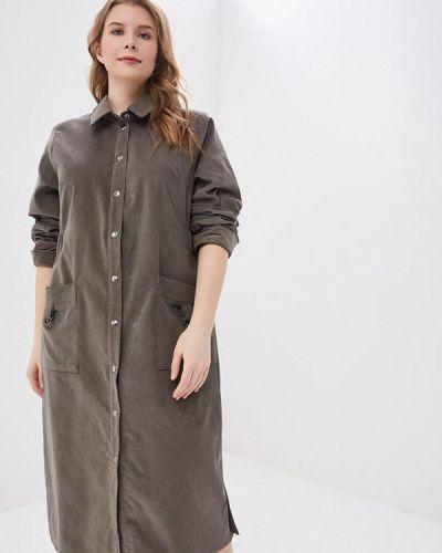Повседневное платье серое авантюра Plus Size Fashion