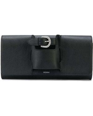 Кожаная черная кожаная сумка с пряжкой с карманами Perrin Paris