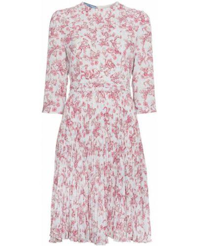 Платье с цветочным принтом приталенное Prada