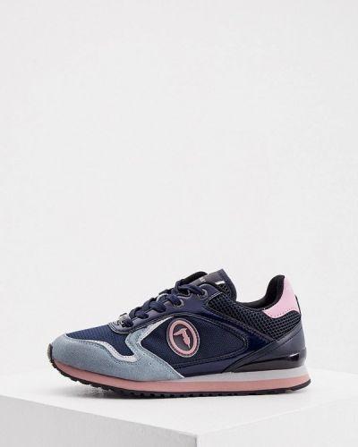 Синие кожаные кроссовки Trussardi