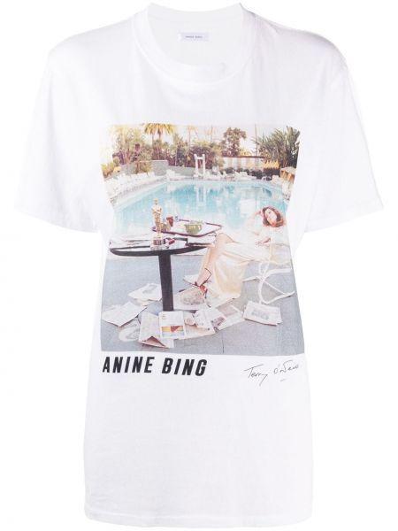 Хлопковая белая прямая футболка с круглым вырезом Anine Bing