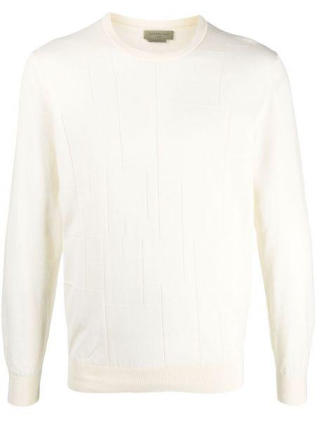 Biały pulower z długimi rękawami bawełniany Corneliani