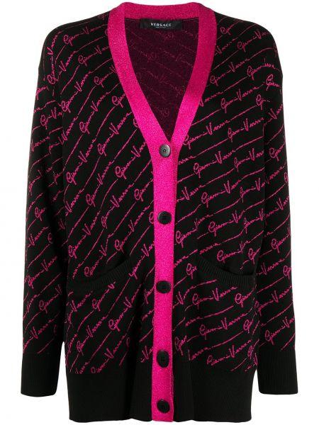 Czarny długi płaszcz bawełniany z długimi rękawami Versace