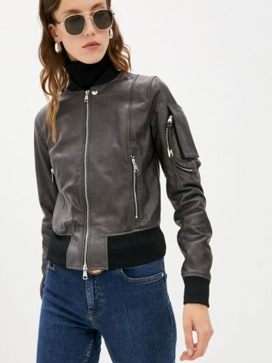 Кожаная куртка - серая Diesel