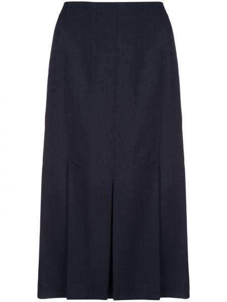 Синяя с завышенной талией юбка миди со складками на молнии Jason Wu