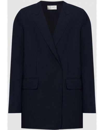 Шерстяной синий пиджак двубортный The Row