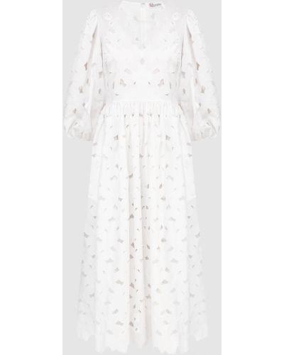 Белое платье миди с вышивкой Red Valentino