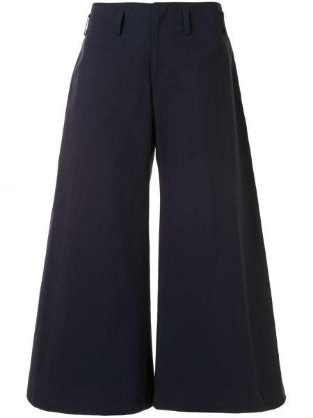 Хлопковые синие укороченные брюки свободного кроя на молнии Yohji Yamamoto Pre-owned