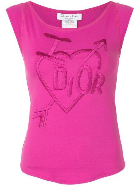 Różowy t-shirt z haftem z nylonu Christian Dior