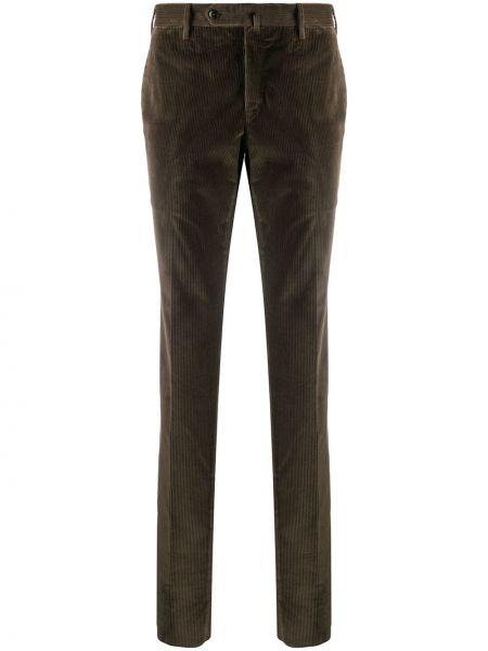 Коричневые брючные брюки с карманами вельветовые Pt01
