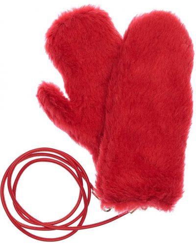 С ремешком красные кожаные варежки Max Mara