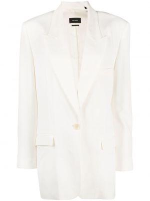 Белый удлиненный пиджак оверсайз с карманами Isabel Marant
