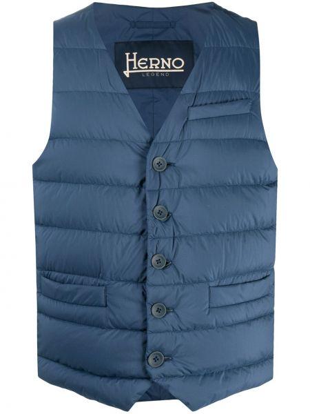 Синяя жилетка с карманами без рукавов с V-образным вырезом Herno