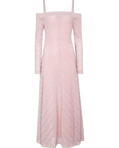 Шелковое розовое платье миди Missoni