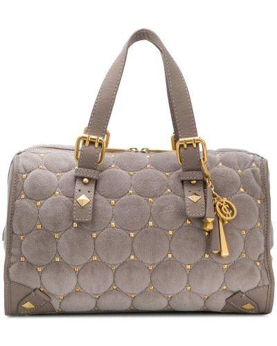 Кожаная сумка серая с заклепками Juicy Couture