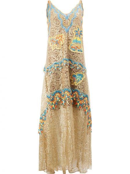Золотистое желтое шелковое платье Peter Pilotto