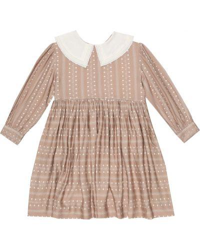 Бежевое платье из вискозы Caramel