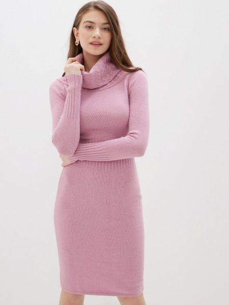Вязаное розовое платье Happychoice