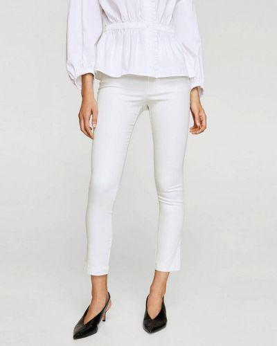 Белые зауженные брюки Mango