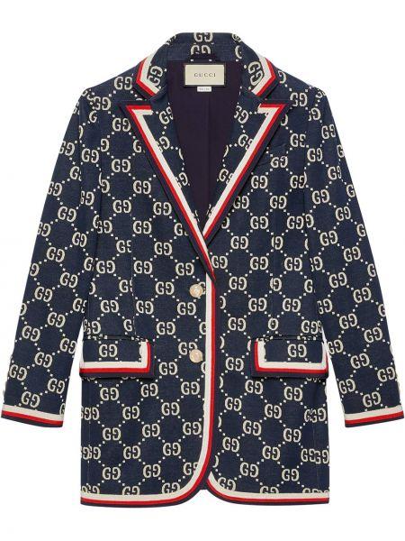 Niebieska marynarka bawełniana z długimi rękawami Gucci