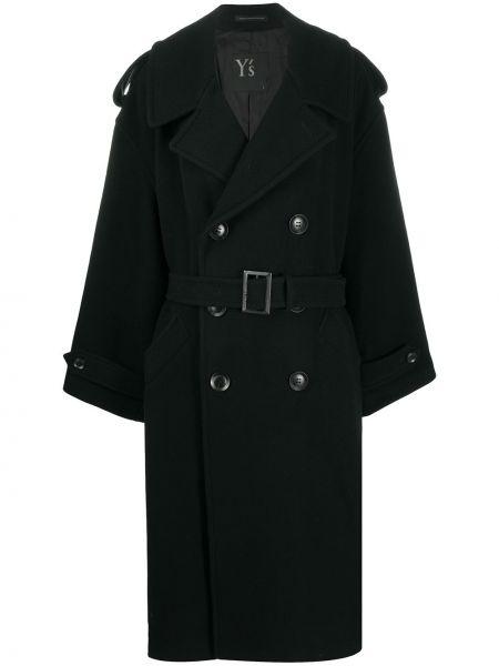 Шерстяное черное длинное пальто на пуговицах Y`s