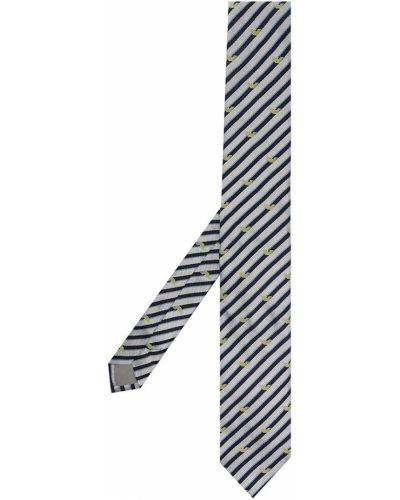 Серый галстук жаккардовый в полоску Emporio Armani