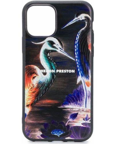 Czarny etui na klucze prostokątny Heron Preston