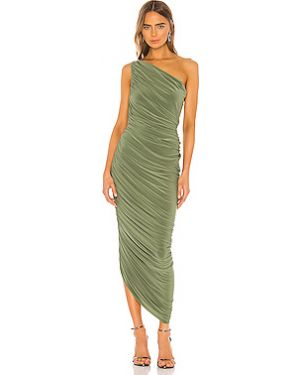 Открытое оливковое вечернее платье с оборками эластичное Norma Kamali