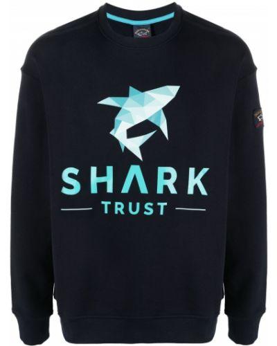 Niebieska bluza długa z długimi rękawami bawełniana Paul & Shark