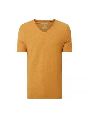Brązowy t-shirt bawełniany z dekoltem w serek Mcneal
